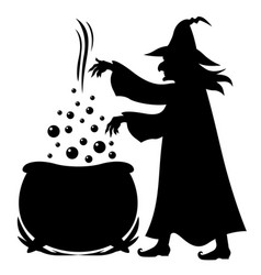 Witch brews potion in pot vector