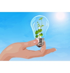 Woman hand holding light bulb with plant vector