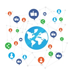 World connection with like and share icon on white vector