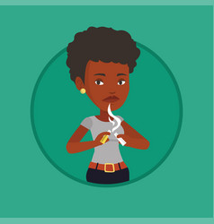 Young woman quitting smoking vector