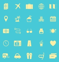Trip color icons on blue background vector