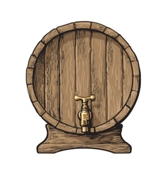 Front view of sketch style wooden barrel with tap vector