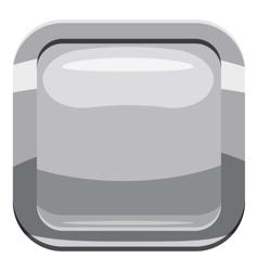 Gray square button icon cartoon style vector