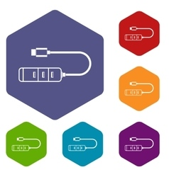 USB adapter connectors icons set vector image