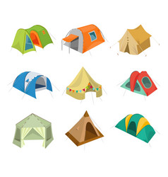 Set of camping tent icon with vector
