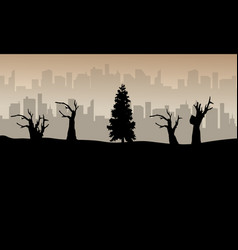 bad environment landscape background silhouette vector image
