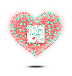 Happy mothers day heart shaped design vector