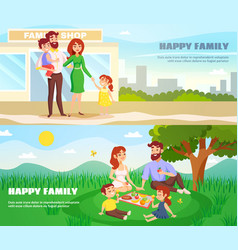 Happy family outdoor horizontal banners vector