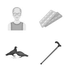 Elderly men tablets pigeons walking caneold vector