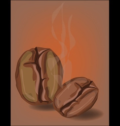 Coffee beans with smoke vector