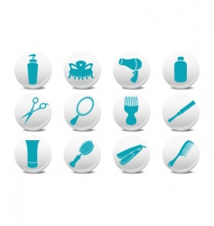 Hairdressing salon buttons vector