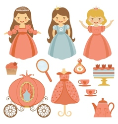 Princess tea party vector