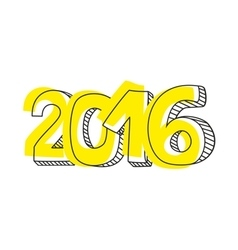 New year 2016 hand drawn yellow sign isolated vector