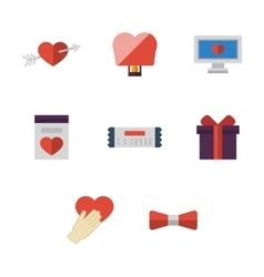 Flat simple love colored icons set vector
