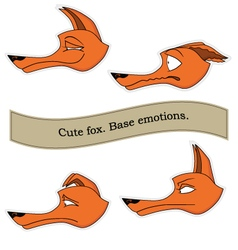 Cute fox emotions sticker pack base emotions set vector