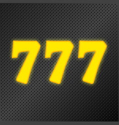 777 jackpot gold neon vector