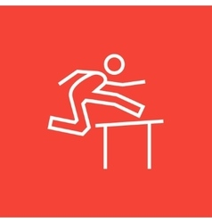 Man running over barrier line icon vector