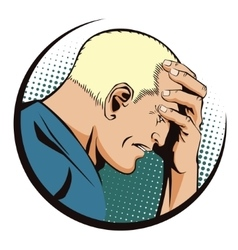People retro style upset man clutching his head vector