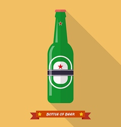 Beer bottle flat icon vector