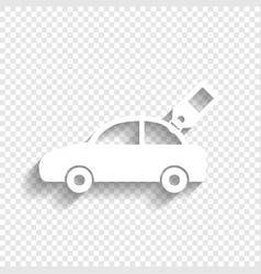 Car sign with tag white icon with soft vector