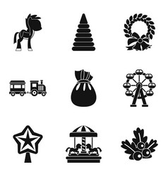 children carousel icons set simple style vector image vector image