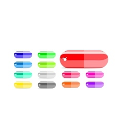colorful capsule icon set vector image vector image