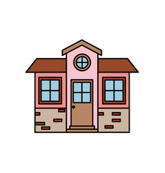 Colorful silhouette of small house facade with vector