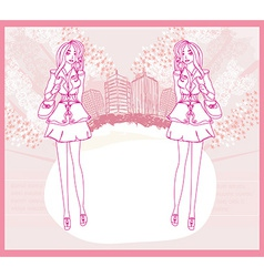 doodle fashion girl Shopping - abstract pink card vector image vector image