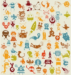 Doodle monsters background vector image vector image