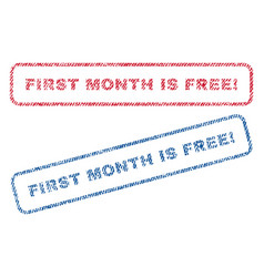 first month is free exclamation textile stamps vector image vector image