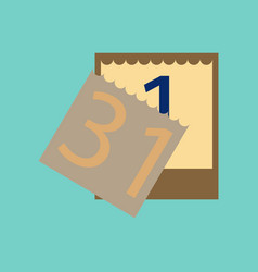 Flat on background of tear-off calendar vector