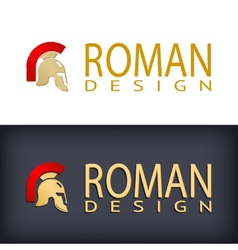 Greek or Roman antique helmet logo vector image
