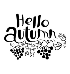 Hello Autumn lettering with grape vector image vector image
