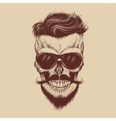 Hipster skull with sunglasses mustache and beard vector