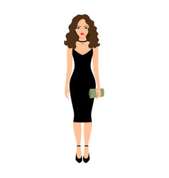 Lady in night black dress vector