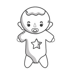 Line baby boy with pacifier and hairstyle vector