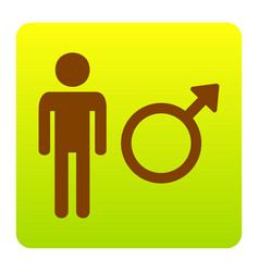 Male sign brown icon at vector