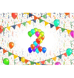 Number two made up from bright colorful balloons vector