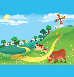 rural landscape with grazing cows in the meadow vector image