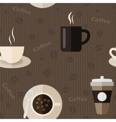 Seamless pattern with coffee icons in flat design vector image