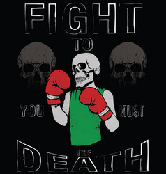 Skull t shirt graphic design vintage boxing gloves vector
