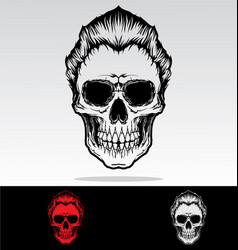 Skulls with hair vector
