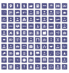 100 intelligent icons set grunge sapphire vector
