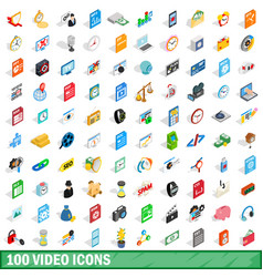 100 video icons set isometric 3d style vector image vector image