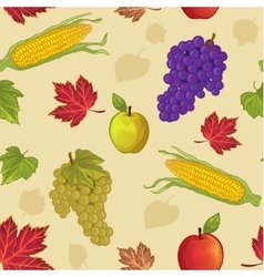 Seamless background with leaf apple grapes corn vector