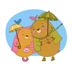 Cute teddy bear under an umbrella vector