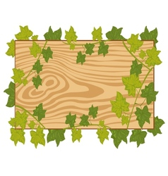 Board with foliage on white background vector