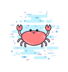 Cute cartoon crab character vector