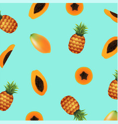 Papaya with pineapple background vector