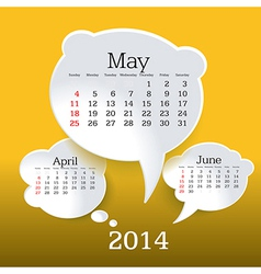 May 2014 bubble speech calendar vector